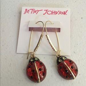 Betsey Johnson Lady Bug Dangle Earrings